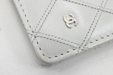 シャネル二つ折り長財布ビコローレA46356オフホワイトレザー中古ロングウォレットココマークステッチレディースCHANEL