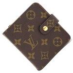 ルイヴィトン二つ折り財布モノグラムコンパクトジップM61667中古コンパクトウォレットラウンドファスナーレディースメンズLOUISVUITTON