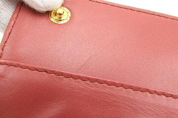 ミュウミュウ二つ折り長財布5M1109ピンククロコ型押しレザー中古レディースロングウォレットmiumiu