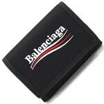 バレンシアガ三つ折り財布エクスプローラー507481ブラックキャンバス中古コンパクトウォレットメンズマジックテープBALENCIAGA