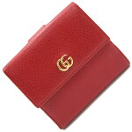 グッチWホック財布プチマーモント456122レッドレザー中古GGマーモントレディース両開きコンパクトウォレットGUCCI