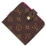 ルイヴィトン二つ折り財布モノグラムペルフォコンパクトジップM95188フューシャ中古レディースコンパクトパンチングLOUISVUITTON