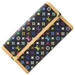 ルイヴィトン三つ折り長財布モノグラムマルチカラーポルトトレゾールインターナショナルM92658ノワール中古ロングウォレットレディース女性婦人ブラックLOUISVUITTON