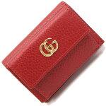 グッチ三つ折り財布プチマーモント523277レッドレザー中古GGコンパクトミニスモールウォレットレディース赤GUCCI