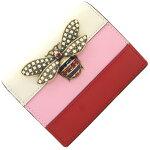 グッチ二つ折り財布クイーンマーガレット476072レッドピンクオフホワイトレザー中古コンパクトウォレットビジュー蜂モチーフレディースGUCCI