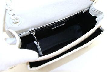 ミュウミュウショルダーバッグ5BD161オフホワイトカーフレザー中古肩掛け斜め掛けキルティングステッチレディースmiumiu