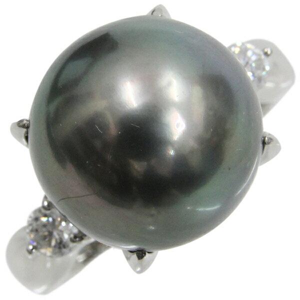 Pt900 黒真珠 ダイヤモンド デザインリング ブラックパール 13.5ミリ玉 ダイヤ合計0.286ct サイズ15.5号 プラチナ 真珠 指輪 アクセサリー | ゆびわ リング ダイヤ ダイヤリング ダイヤモンドリング 18金 レディース 女性 妻 誕生日 プレゼント ギフト 母の日 結婚記念日