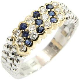 ダイヤ サファイア リング Pt YG プラチナ イエローゴールド 11号 中古 指輪 ジュエリー   ゆびわ リング ダイヤ ダイヤリング ダイヤモンドリング 18金 レディース 女性 妻 誕生日 プレゼント ギフト 母の日 結婚記念日