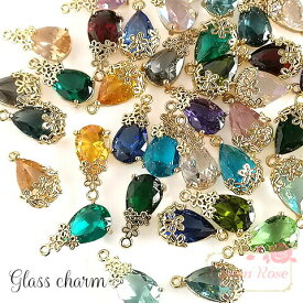 ガラスストーンのしずくフラワーチャーム 2種18色 2個 メタル 小花 金属 J6-3044