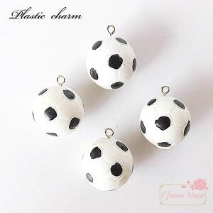 サッカーボールのような五角形模様のプラスチックチャーム 2個  部活 応援 ボール キーホルダー キッズ アクセサリーパーツ 材料 YM1-1750