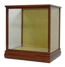 人形用ガラスケース 間口36×奥行27×高さ36cm(ケース内寸) ケヤキ塗り 木製戸付 人形ケース