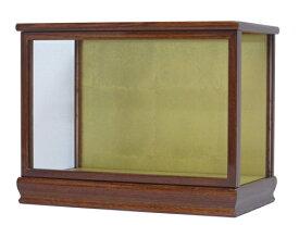 人形ケース(ガラスケース)間口40×奥行22×高さ28cm(ケース内寸)ケヤキ塗り 木製 戸付 高砂人形 結納