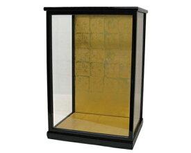 人形ケース 間口30×奥行24×高さ50cm(ケース内寸) 黒桑塗り 木製戸付 ガラス 博多人形 日本人形