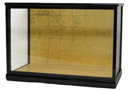 人形ケース 間口55×奥行30×高さ40cm(ケース内寸) 黒桑塗り ガラスケース 木製戸付 木目込人形 雛人形