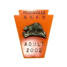 ヴィンテージ ライセンス バッジ FRACKVILLE S.E.F.S 狩り 狩猟 ビーバー アメリカン雑貨 アメ雑