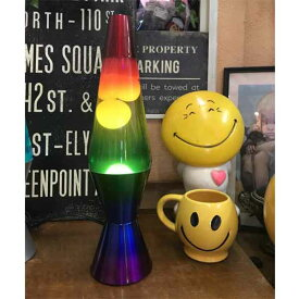 [2179] ラバライト Lava Light Lamp ラバランプ / White Wax Clear Liquid Tricolored Globe Tricolored Base