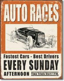 【まとめ割】Vintage Auto Races (1546) ブリキ看板 ティンサインプレート アメリカン雑貨