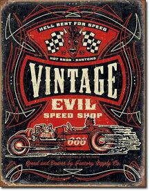 【まとめ割】Vintage Evil - Hell Bent Rods (1972) ブリキ看板 ティンサインプレート アメリカン雑貨