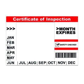 【新サイズ対応】 普通車車検 インスペクションステッカー 検査標章 シール ND [白×赤]