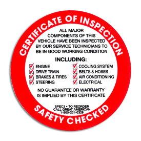 AMERICA 整備用ステッカー / SAFETY CHECKED 裏貼り (RD) USDM 検査標章