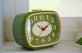 めざまし時計・Classic Bell クラシック ベル グリーン & アイボリー目覚まし 時計 クロック アナログ 緑 白 レトロアメリカン ナチュラル カントリー インテリア 雑貨 70年代 60年代 めざまし 電子音 アラーム アメリカ おしゃれ 安い アメカジ