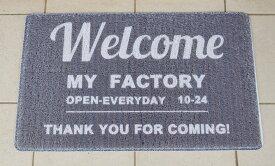 あす楽】室内 屋外 玄関 兼用マット Welcome My Factory ウエルカム マイ ファクトリー PVC製アメリカン フレンチ カントリー 雑貨 玄関マット 勝手口 ベランダ