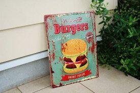 レトロ ブリキ製サイン TINサイン Antique Emboss Plate 「 Burgers 」 バーガー ハンバーガーアメリカン フレンチ ナチュラル カントリー インテリア 雑貨 TINサイン ブリキ製看板 ハンバーガー レトロ調 アンティーク調