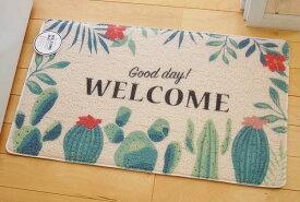 あす楽】室内 屋外 玄関 兼用マット Good day! WELCOME サボテンの花 多肉 PVC製アメリカン フレンチ カントリー 雑貨 玄関マット 勝手口 ベランダ