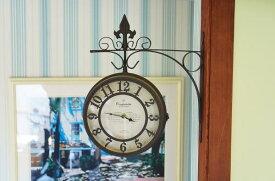 レトロ 時計 両面 送料無料 ステーションクロック L 時計 レトロブラウン カントリー インテリア 北欧 雑貨 駅 安い 裏表 壁掛け 大人気 レトロ調 アンティーク調 回転 OLD STREET 濃い茶色 欧風 洋風 ヨーロッパ調 レトロ アンティーク 素敵な 即納 安い