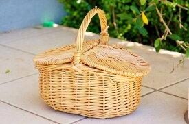 ピクニックバスケット (S) ウイッカー ナチュラル カントリー インテリア 雑貨 お弁当 ハイキング 公園 北欧 インテリア 安い かわいい 可愛い ソーイング 裁縫 小さい ミニ コンパクト バスケット 軽い ピクニック 売れてる ベージュ ブラウン ハンドバスケット