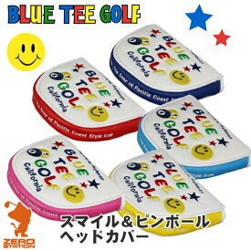 《あす楽》BLUE TEE GOLF ブルーティーゴルフ スマイル&ピンボール ホワイト パターカバー パター用 マレットタイプ 合成皮革