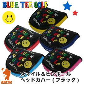 《あす楽》BLUE TEE GOLF ブルーティーゴルフ スマイル&ピンボール ブラック パターカバー パター用 マレットタイプ 合成皮革