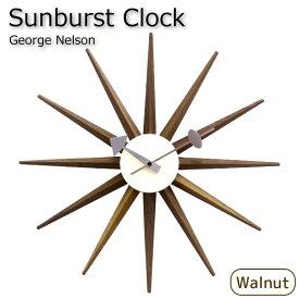ジョージネルソン おしゃれ 壁掛け時計 サンバーストクロック [ウォールナット] デザイナーズ 北欧 リプロダクト品 ジェネリック ミッドセンチュリー ウォルナット ブラウン インテリア 木製 雑貨 太陽