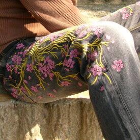 桜刺繍ブラックジーンズ/メンズ/MEN'S/倉/備中倉敷工房/ETERNAL/桜/#25177/倉敷/ブラック/デニム/【送料無料】