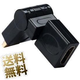 HDMI 変換 タイプAメス - HDMIタイプAオス 変換アダプタ 回転タイプ 1080pまで