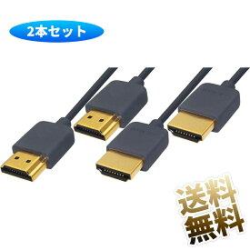 【2本セット】 HDMI2.0 HDMIケーブル 4K対応 グレー スリムケーブル 1.5m ハイスピード 3840×2160 細いケーブル スリムタイプ 細い 柔らかい