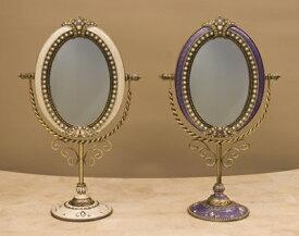 エレガント アンティーク ミラー 鏡 円形 卓上ミラー スタンドミラー<アガット オーバルパール>