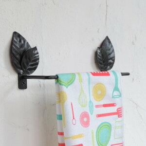 2枚重ねリーフのアイアンタオルハンガー 新築 リフォーム リフォーム リノベーション アイアン トイレ キッチン おしゃれ ナチュラル サイズ変更OK 傘かけ 玄関 洗面