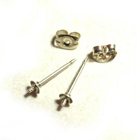 [IA002]Silver925製 3mm椀 芯付き貼り付けピアス(キャッチ付き) 1ペア[RPT]