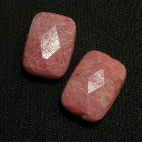[HA003]天然石ビーズ ロードナイト 長角カット約10x14mm 2ケ
