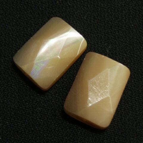 [HA003]天然石ビーズ マザーオブパール(MOP)ナチュラル 長角カット約10x14mm 2ケ
