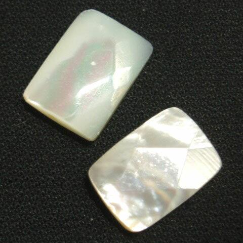 [HA003]天然石ビーズ マザーオブパール(MOP)白 長角カット約10x14mm 2ケ