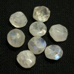 [HA004]天然石ビーズ レインボームーンストーン ボタンカット 約6.5〜8mm 8ケ