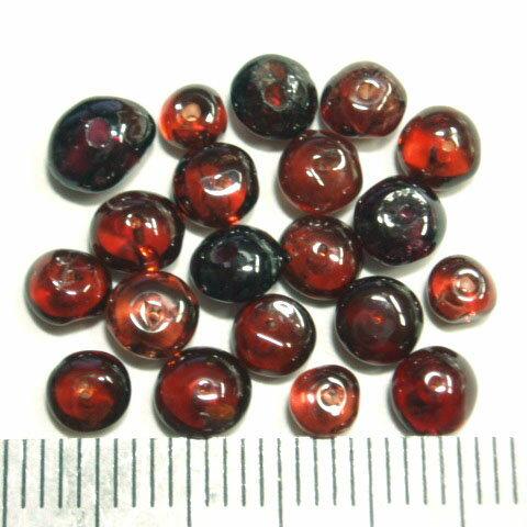 [HA004]天然石ビーズ ガーネット ボタン 約3〜5×2〜3mm 20ケ