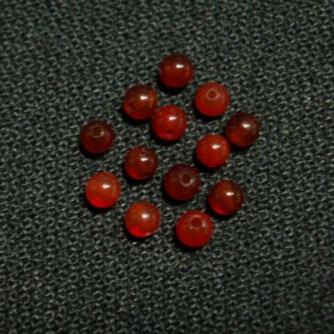 [HA100]天然石ビーズ 赤めのう(瑪瑙) 約2mm ラウンド 約13ケ