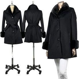 9号サイズ カシミア100%コート ベルト付  SAGAブラックミンク衿、カフス
