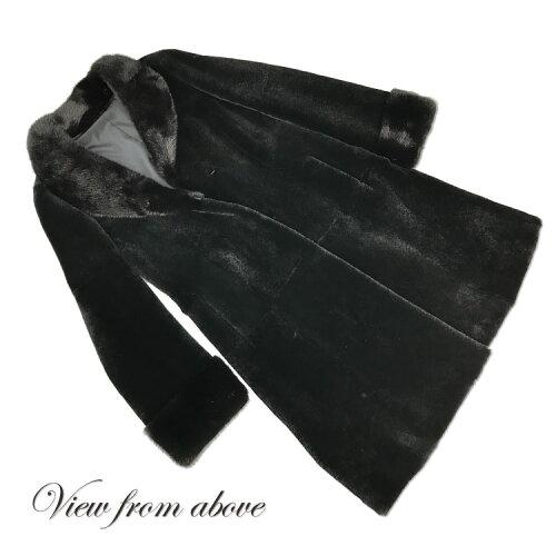 ご愛顧感謝シェアードレッキス&ブラックミンクヘチマ衿コート一点物現品限