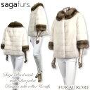 SAGA パールミンク ワイドスタンドカラージャケットコート ロシアンセーブルトリミング