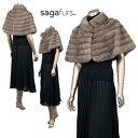 ご愛顧感謝★ SAGAシルバーブルーミンクファー タック衿 ケープ  デザインボタン付 41552