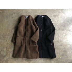 【ARMEN 】アーメンFLEECE FRONT ZIP&SNAP NO COLLAR LONG COAT style No.NAM1972Y